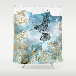 Humming Bird - Floral  Shower Curtain