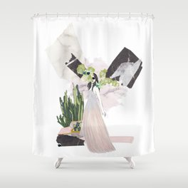 pink & plants 4 Shower Curtain