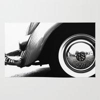 vw Area & Throw Rugs featuring VW Beetle by Ingrid Beddoes