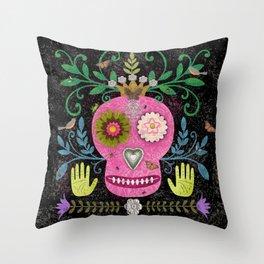 Whimsical Pink Skull Throw Pillow