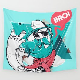 Hipster Bro! Cool Dude with Beard Wall Tapestry
