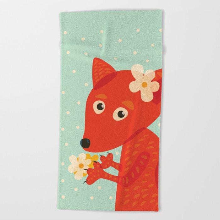 Cute Fox And Flowers Beach Towel
