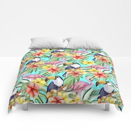 Tropical birds and flowers Comforters