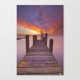 III - Seaside jetty at sunrise on Texel island, The Netherlands Canvas Print