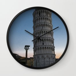 Pisa Tower At Night 2 remus romulus Tuscany Italy Wall Clock