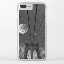 Blood Moon over Brooklyn Bridge and New York City Clear iPhone Case