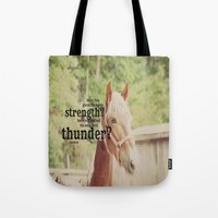 scripture Tote Bags featuring Job 39: 19 Horse Scripture by KimberosePhotography