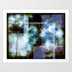 forest memories Abstract Blue Fire Art Print