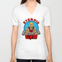 gym V-neck T-shirts featuring Eternia Gym by Buby87