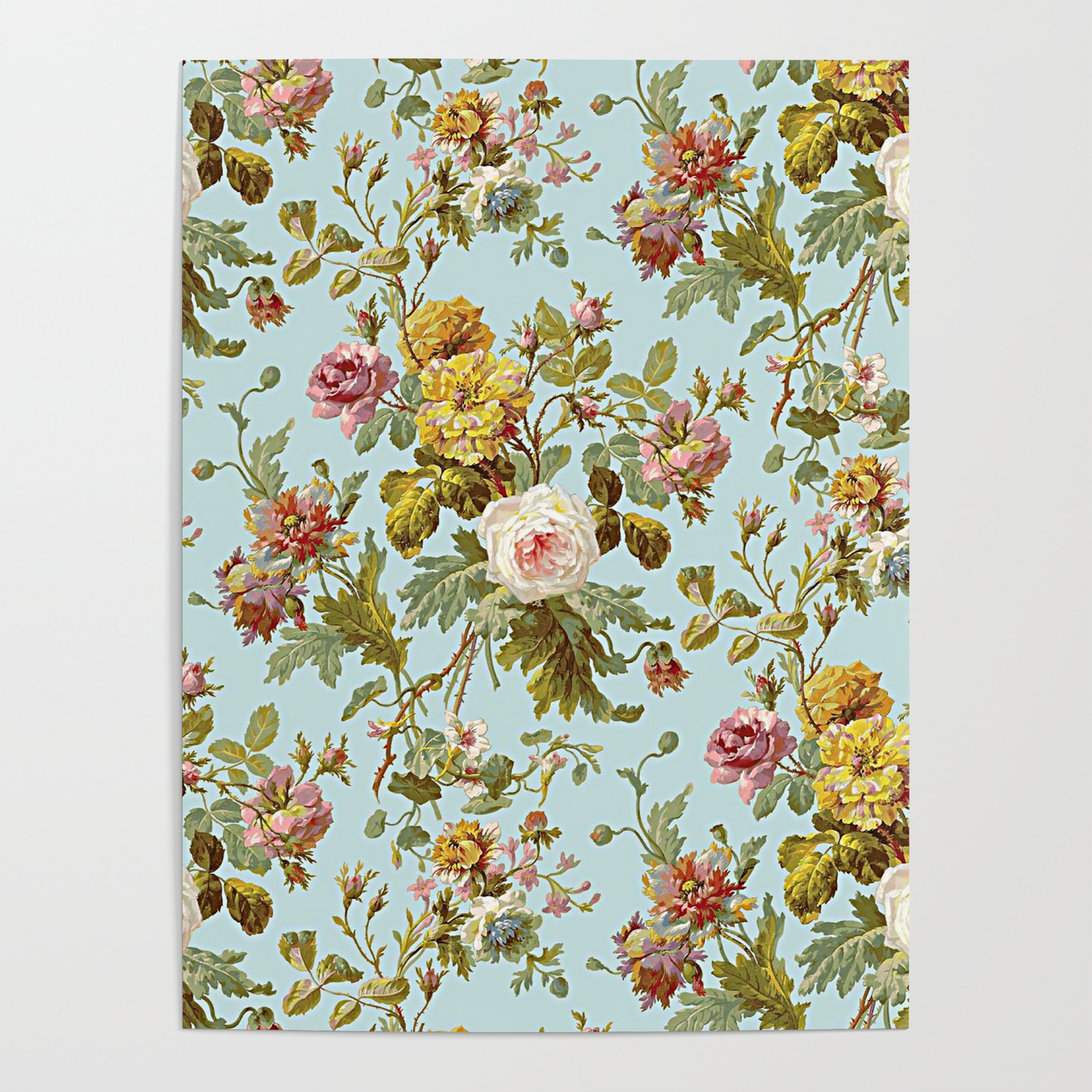 Chic Stylish Vintage Pink Rose Flower Pattern Poster By