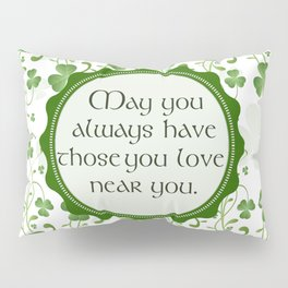 Irish Blessing Shamrock Background Pillow Sham
