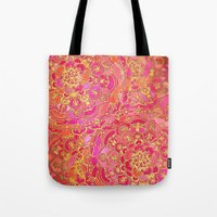 baroque Tote Bags featuring Hot Pink and Gold Baroque Floral Pattern by micklyn