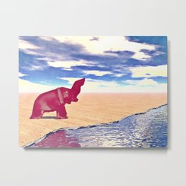 Desert Elephant Quest For Water Metal Print
