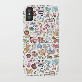 Winter Animals with Scarves Doodle iPhone Case