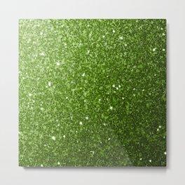 Beautiful light green greenery glitter sparkles Metal Print