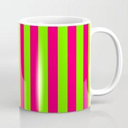Super Bright Neon Pink and Green Vertical Beach Hut Stripes Coffee Mug