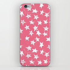 Linocut Stars- Blush & White iPhone & iPod Skin