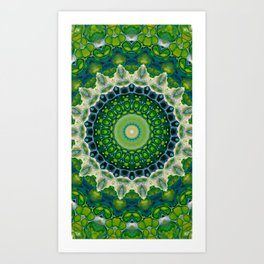 Green Kaleidoscope Mandala Abstract Digital Aret Art Print