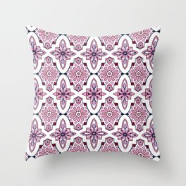 Lilac and burgundy flower Moroccan Tiles Throw Pillow