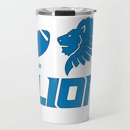 True Lion American Football Design black lettering Travel Mug