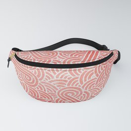 Peach echo and white swirls doodles Fanny Pack