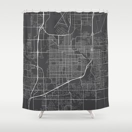 Sioux Falls Map, USA - Gray Shower Curtain