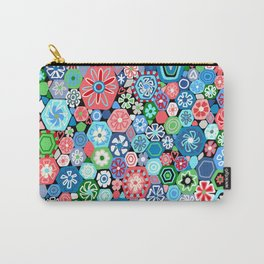 Millefiori Blue and Red Carry-All Pouch