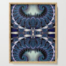Baroque Feathers Blue Serving Tray