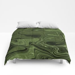 Luminous Green streams of dark and light Comforters