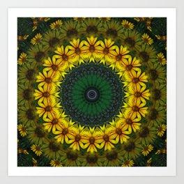 Large Yellow Wildflower Kaleidoscope Art 4 Art Print