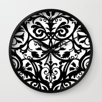 wall clock Wall Clocks featuring Folk Art wall clock by Laura Barrett