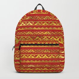 Geometric Lines Tribal  gold on red leather Backpack