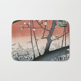 botanical ukiyo-e painting nature garden spring japanese plum flower Bath Mat