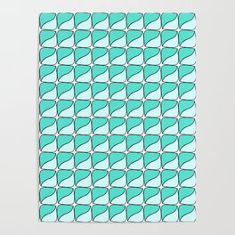 Abstract green and blue square lozenge Poster
