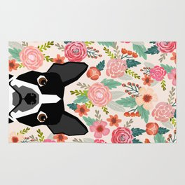 Boston Terrier florals flowers boho cute black and white boston terrier puppy dog pet portraits  Rug