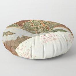 The Mall, Washington D.C. Map (1915) Floor Pillow