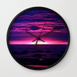 Incredible Sunset by the Sea Wall Clock