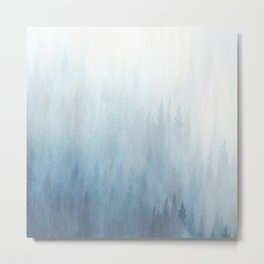 Abstract Blue Ombre Misty Forest Metal Print
