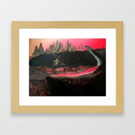 Crow and Mountains and Cliffs and a Church Framed Art Print