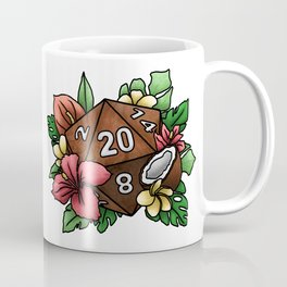 Tropical D20 Tabletop RPG Gaming Dice Coffee Mug