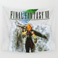 final fantasy Wall Tapestries featuring Cloud Strife Final Fantasy 7 by Joe Misrasi