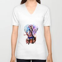 returns V-neck T-shirts featuring Alice madness returns by ururuty