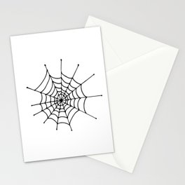 Spiderweb. Simle, one line hand drawn spiderweb. Black and white Stationery Cards