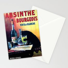Marque Deposee Bad Cat Drinking Absinthe Bourgeois Lithograph Wall Art Stationery Cards