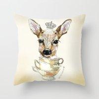 bambi Throw Pillows featuring Bambi  by Iria do Castelo
