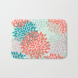 Floral Pattern, Living Coral, Teal and Mint Green Bath Mat