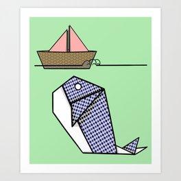 Origami Whale Art Print