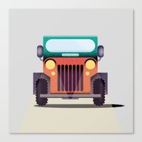 jeep Canvas Prints featuring Jeep by il Cane