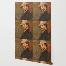 Self-portrait with flowered hat - James Sidney Edouard Baron Ensor Wallpaper