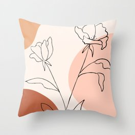 Poppies line drawing Throw Pillow